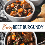 Long collage image of Beef Burgundy or Beef Bourguignon