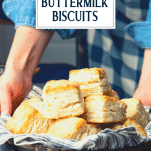 Hands serving basket of flaky biscuits with text title overlay