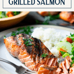 Close up side shot of the perfect grilled salmon on a white plate with text title box at top