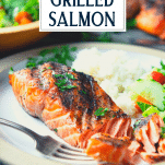Close up side shot of grilled salmon on a plate with a text title overlay
