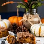 Side shot of a piece of pumpkin streusel coffee cake on a fall table