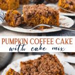 Long collage image of pumpkin coffee cake