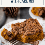Close up shot of pumpkin coffee cake on a plate with text title box at top
