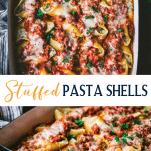 Long collage image of Stuffed Pasta Shells