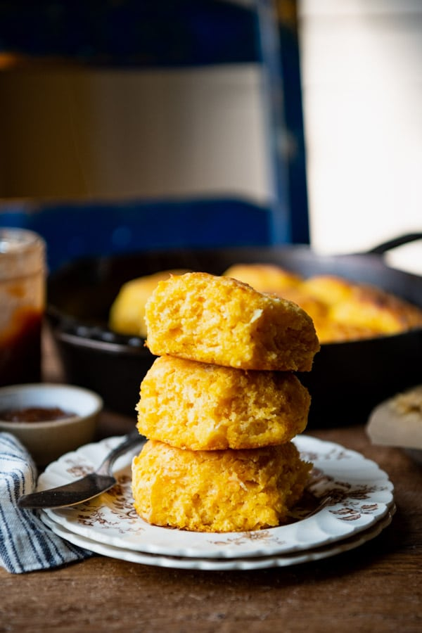 Three flaky layers of sweet potato biscuits stacked on top of each other
