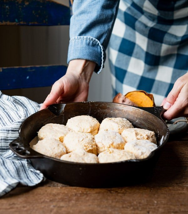 Skillet of sweet potato biscuits before baking