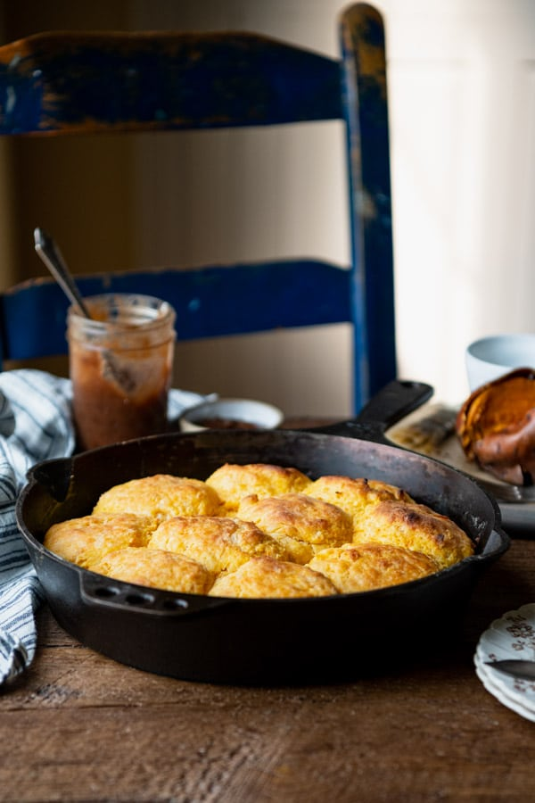 Side shot of a pan of old fashioned sweet potato biscuits