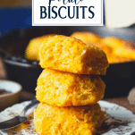 Stack of sweet potato biscuits with text title overlay