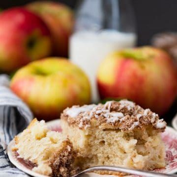 Close up side shot of a plate of sour cream apple coffee cake