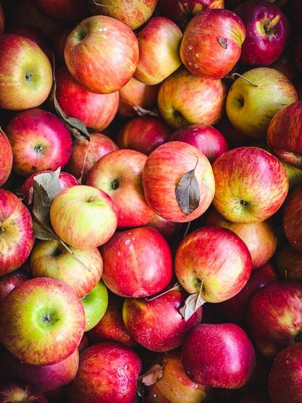 Close overhead shot of a bin of apples