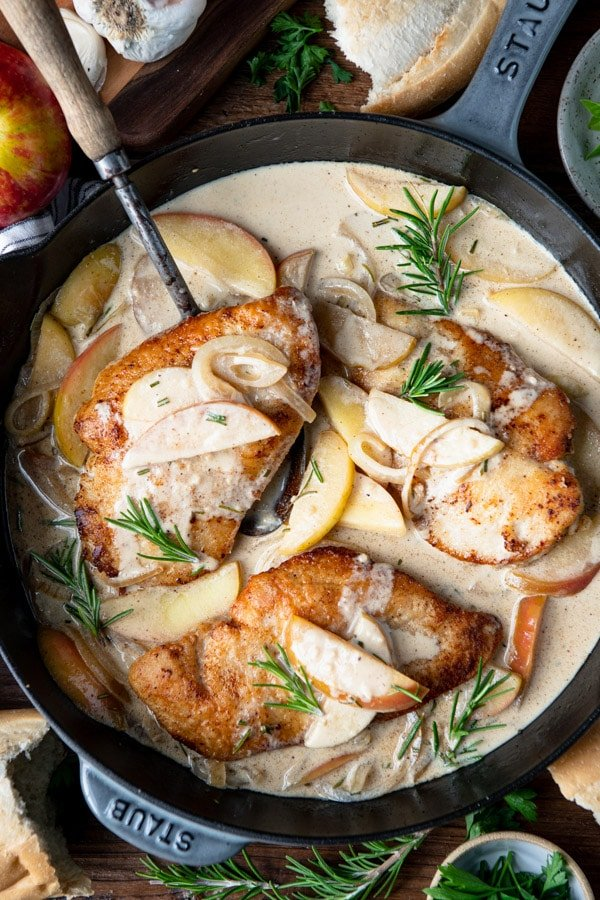 Close overhead shot of Skillet Chicken breast with apples