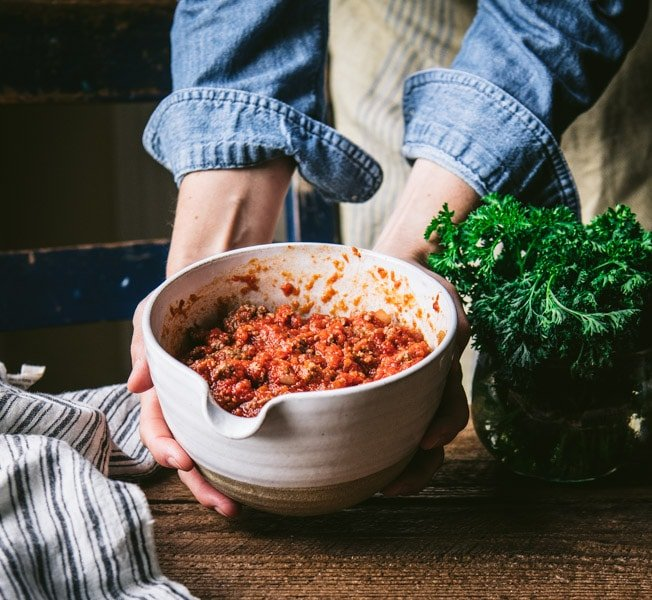 Marinara meat sauce in a white bowl