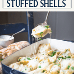 Serving chicken stuffed shells with text title box at top