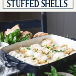 Side shot of Chicken Alfredo Stuffed Shells with text title overlay
