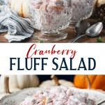 Long collage image of cranberry fluff