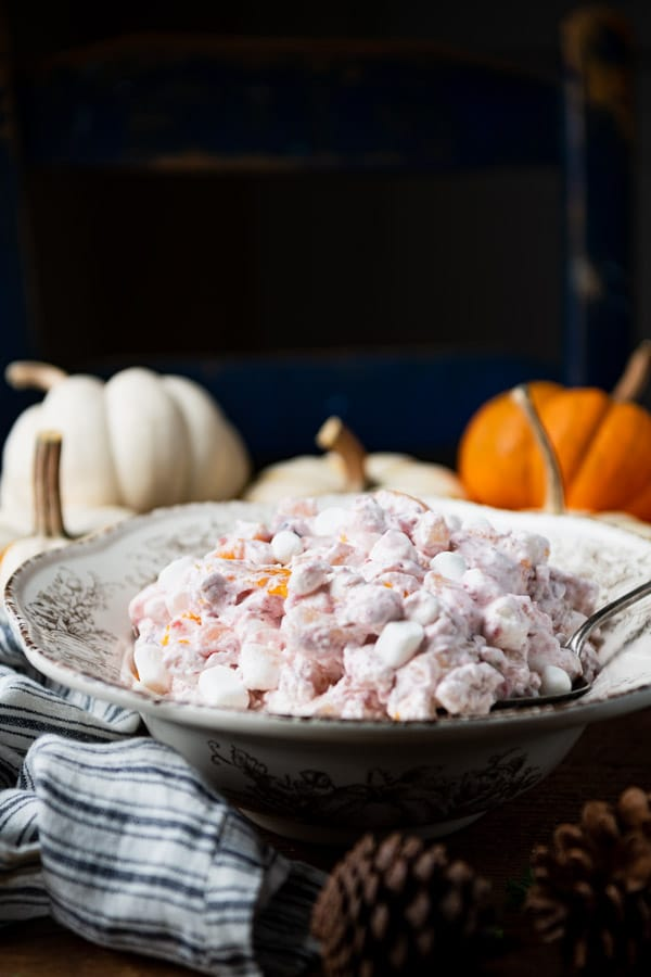 Side shot of a serving bowl full of the best cranberry fluff recipe.