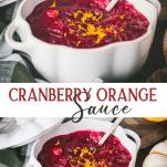 Long collage image of cranberry orange sauce