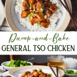 Long collage image of general tso chicken recipe