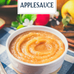 Close up shot of a bowl of applesauce with text title overlay