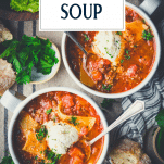 Overhead image of two bowls of crockpot lasagna soup with text title overlay