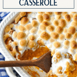 Overhead shot of sweet potato casserole with text title box at top